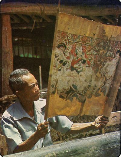 Fotos © Dieter Lotze, Karl Mertes - Dalang Pak Sarnen Gunacarita vor seinem Haus in Karang Talun am 14.2. 1981